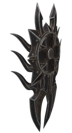 fantasy black shield with spikes on an isolated background. 3d illustration