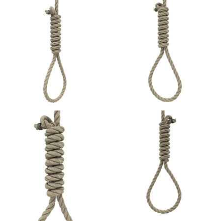 rope loop on the neck on an isolated white background. 3d illustration 写真素材