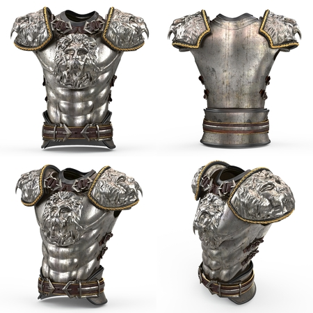 Medieval armor on the body in the style of a lion with large shoulder pads on an isolated white background. 3d illustration Stock Photo