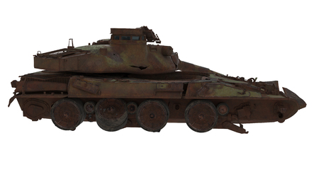 damaged rusty battle tank on an isolated white background. 3d illustration