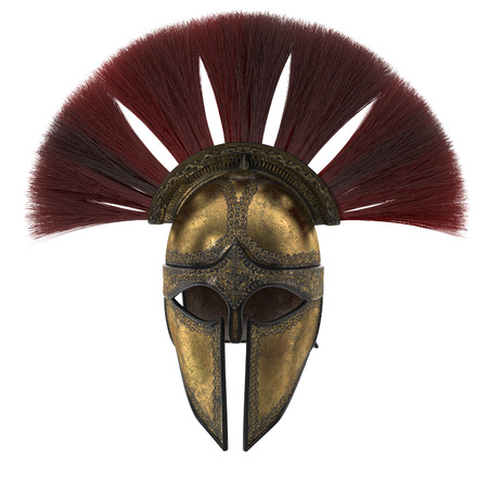 Spartan helmet with plumage on an isolated white background. 3d illustration