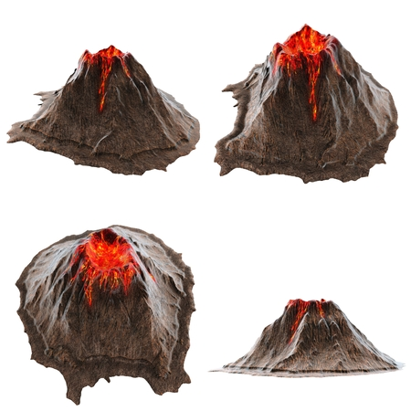 Volcano lava without smoke on the isolatedbackground. 3d illustration Foto de archivo - 117679282