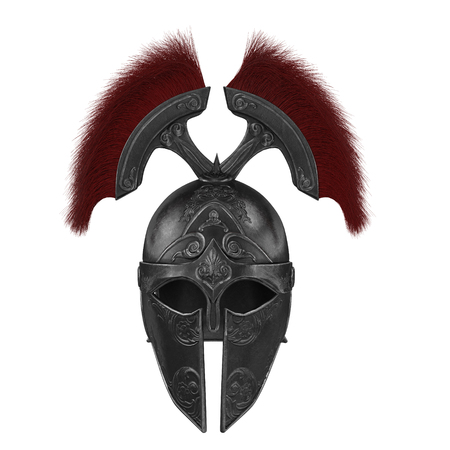 Trojan black closed helmet on an isolated white background Stock Photo