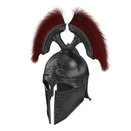 Trojan black closed helmet on an isolated white background Stok Fotoğraf
