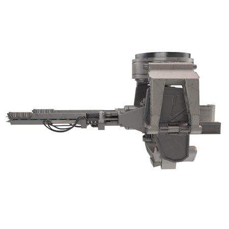 A large gun turret on an isolated white background. 3d illustration
