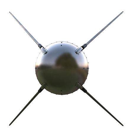 satellite on isolated white background. 3d illustration Stock Photo