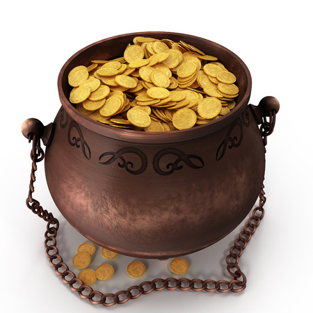 Pot of gold isolated background. 3d illustration