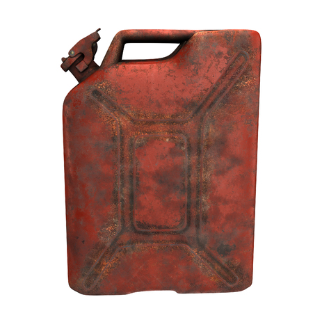 fuel canister red rusty on an isolated background. 3d illustration Reklamní fotografie