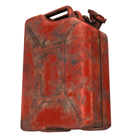 fuel canister red rusty on an isolated white background. 3d illustration