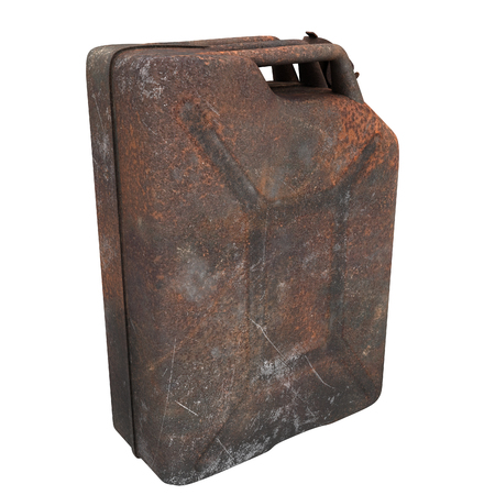 fuel canister rusty on an isolated background. 3d illustration Banque d'images - 117679809