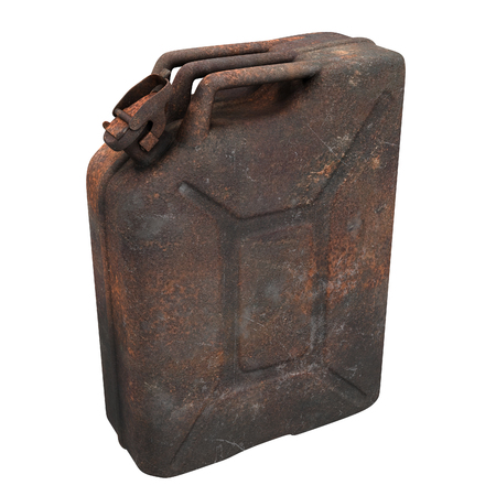 fuel canister rusty on an isolated background. 3d illustration Banque d'images - 117679814