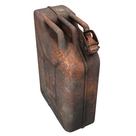 fuel canister rusty on an isolated background. 3d illustration