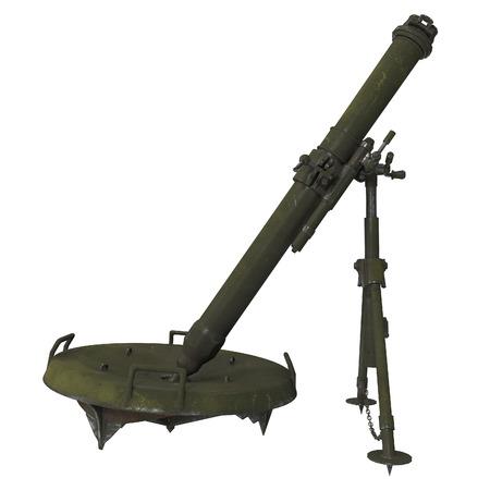The 120-mm mortar cannon gun 2B11 . 3d illustration