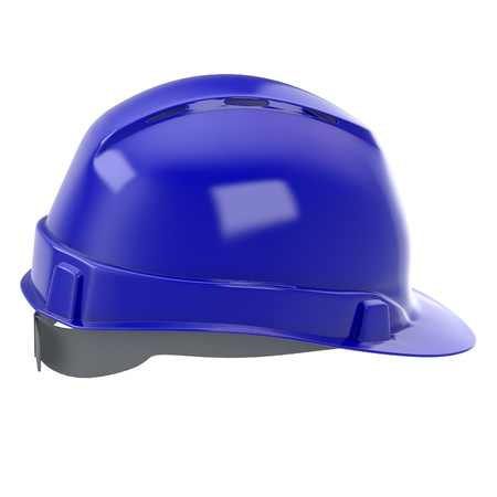 construction helmet blue on an isolated background. 3d illustration Reklamní fotografie