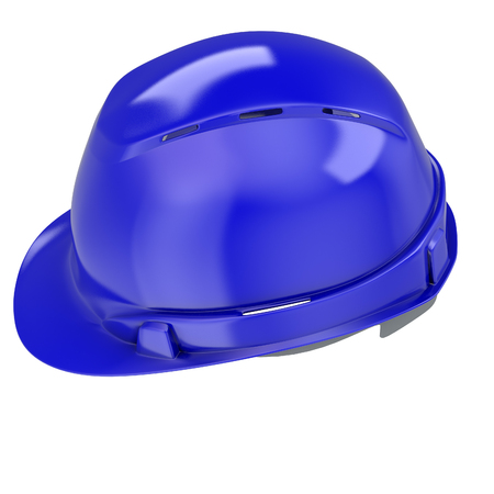 construction helmet blue on an isolated background. 3d illustration Banque d'images - 122262965