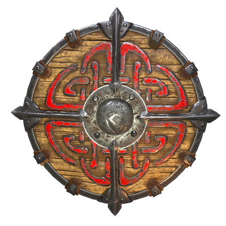 Fantasy round viking wooden shield on an isolated white background. 3d illustration Banque d'images - 122262977