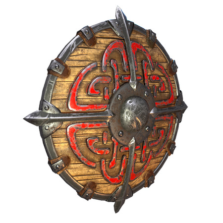 Fantasy round viking wooden shield on an isolated white background. 3d illustration Banque d'images - 122262979