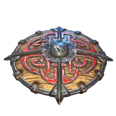 Fantasy round viking wooden shield on an isolated white background. 3d illustration Banque d'images - 122263712