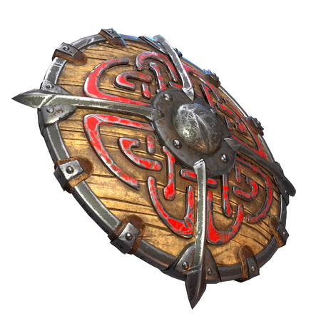 Fantasy round viking wooden shield on an isolated white background. 3d illustration