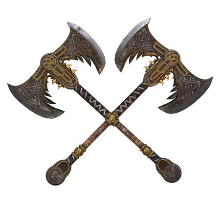 Viking fantasy two-handed ax on an isolated white background. 3d illustration Banque d'images - 122263730