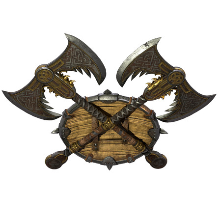 axe and viking shield on an isolated white background. 3d illustration Imagens