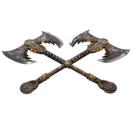 Viking fantasy two-handed ax on an isolated white background. 3d illustration Reklamní fotografie