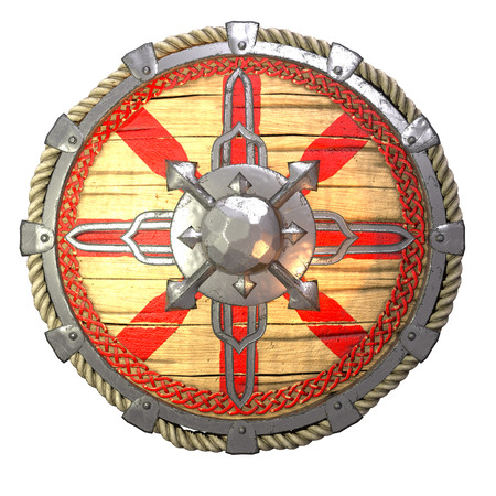 Round fantasy wooden shield with iron inserts on an isolated white background. 3d illustration Reklamní fotografie