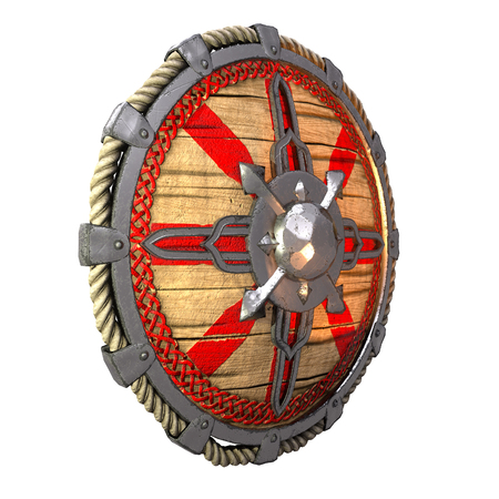 Round fantasy wooden shield with iron inserts on an isolated white background. 3d illustration Banque d'images - 122263897