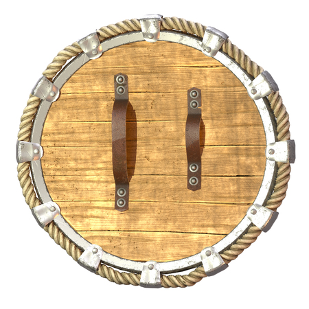 Round fantasy wooden shield with iron inserts on an isolated white background. 3d illustration Banque d'images - 122263900