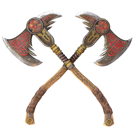 Viking fantasy axe on an isolated background. 3d illustration Banque d'images - 122263907