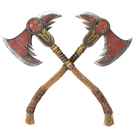 Viking fantasy axe on an isolated background. 3d illustration Reklamní fotografie
