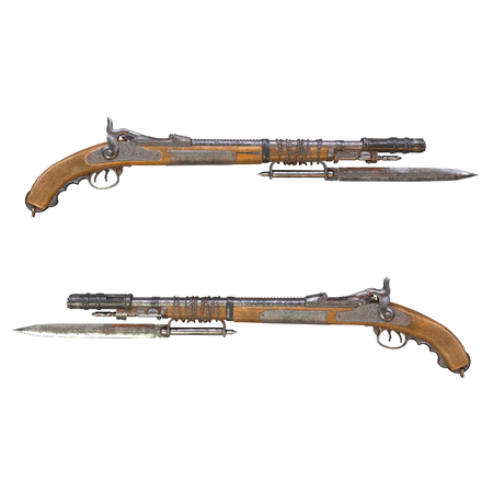 Fantasy bleed musket in post-apocalypse style with a knife on an isolated background. 3d illustration