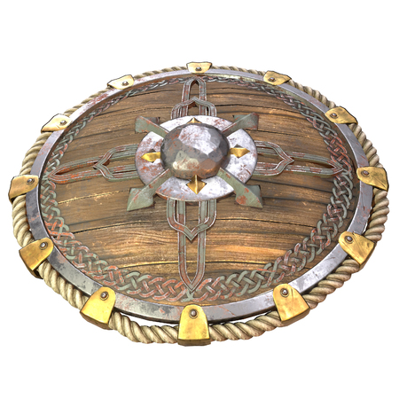 Round fantasy wooden shield with iron inserts on an isolated white background. 3d illustration Banque d'images - 122263990
