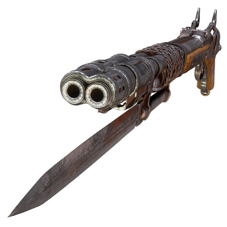 Fantasy bleed musket in post-apocalypse style with a knife on an isolated white background. 3d illustration Stock Illustration - 122264007