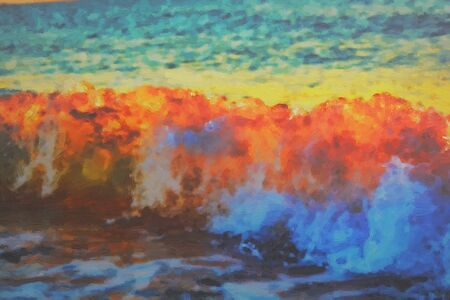 sea wave at sunset. oil painting drawn