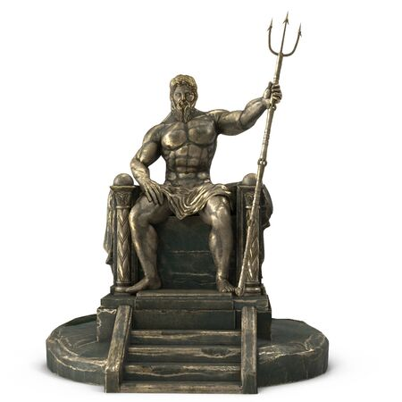 Bronze statue of the Greek god Poseidon on an isolated white background. 3d illustration