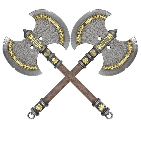 fantasy iron ax on an isolated white background. 3d illustration