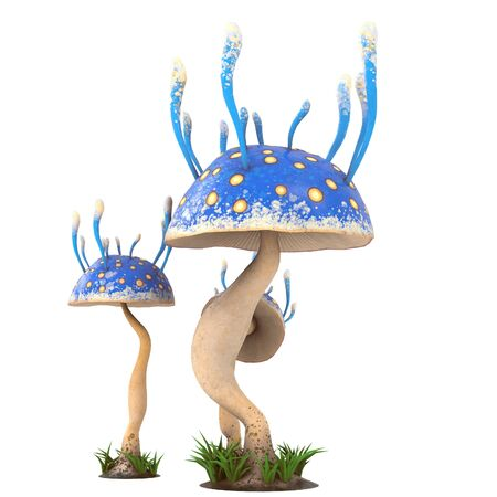 fantasy cartoon mushrooms on an isolated white background. 3d illustration