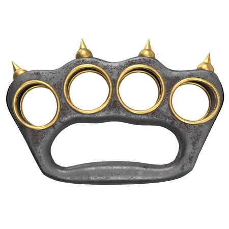iron brass knuckles with spikes on an isolated background. 3d illustration