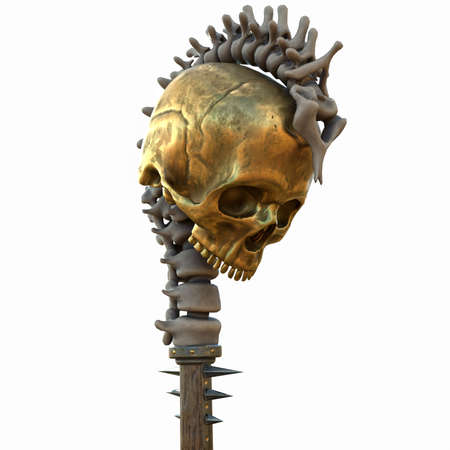 staff with a skull wooden with gold and metal inserts on an isolated white background. 3d illustration Stock Photo