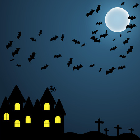 volatile: The dark background on the Halloween night sky with the moon and volatile myshy