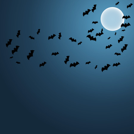 early in the evening: Bats in Sky Background in Vector EPS10 Illustration