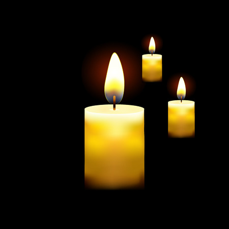 Candles on dark background realistic Vector illustration
