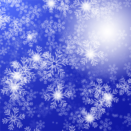christams: blue background with christmas stars and snowflakes, illustration