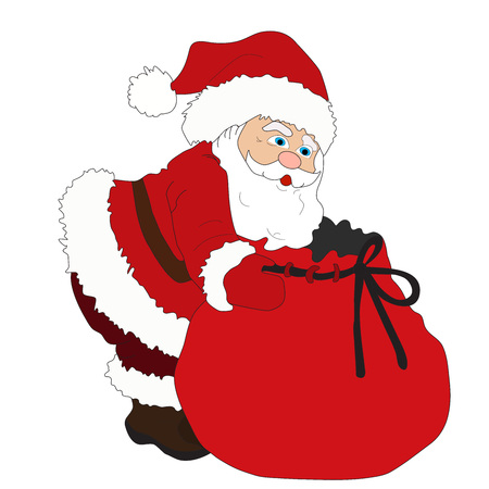 klaus: Ilustration for Christmas and New Year. Santa Claus. Bag with gifts.