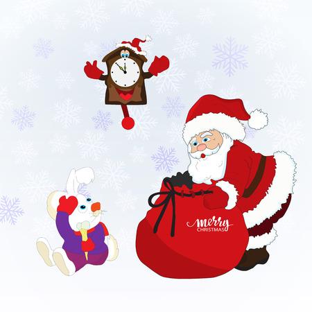 Christmas card with Santa Claus,a rabbit,a clock Illustration
