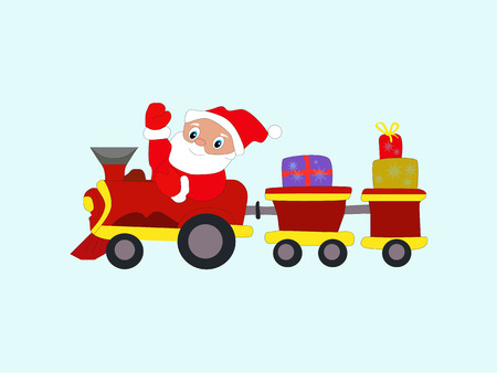 Winter New Year Christmas Santa Claus in train with gifts Illustration