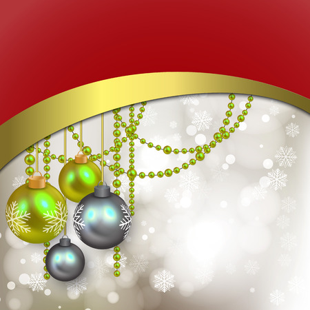 Silver Christmas background with bokeh and Golden and red waves