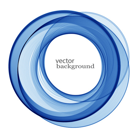 Abstract waves of blue color in a circle.Fashion design element vector.Blue smooth wave Illustration