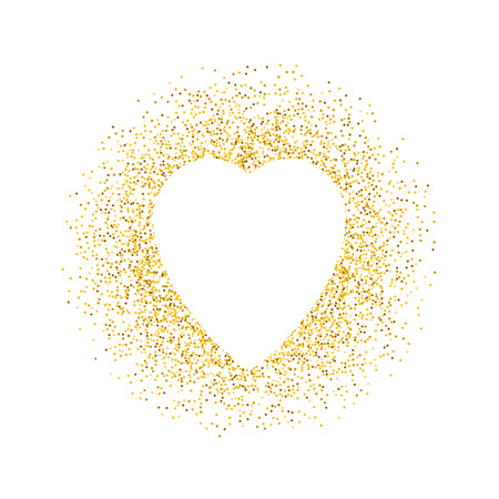 Valentines day greeting card. Vector gold sparkles heart on white background. Abstract luxury glow golden background. Design for holiday gift card, banner, flyer. Ilustrace